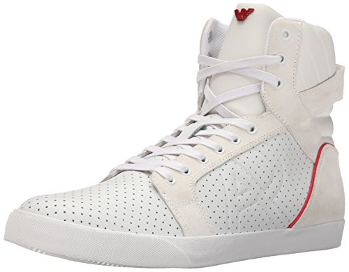 ARMANI JEANS Men's Perforated Logo HIGH TOP Fashion Sneaker, White, 42 EU/8.5 M US