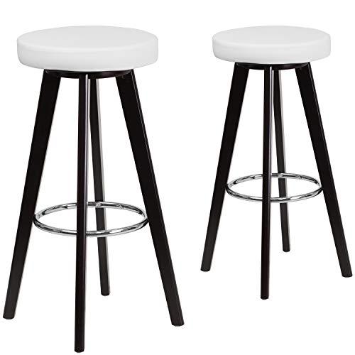 Flash Furniture 2 Pk. Trenton Series 29'' High Contemporary Cappuccino Wood Barstool with White Vinyl Seat