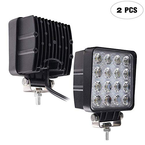 Led Work Light,TURBOSII Pair 4'' 48W Square Spot Cube Pods DRL Front Rear Back Up Bumper Grill LED Fog Lights For Jeep Truck John Deere Trailers Night Fishing Trip Tall Compact Tractor 4 Wheeler by TURBOSII