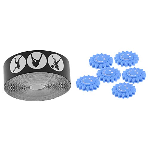 SM SunniMix Tennis Racquet Frame Head Protector Self-Adhesive Tape Stickers with 6 Racket Vibration Dampener Damper Blue Sunflower