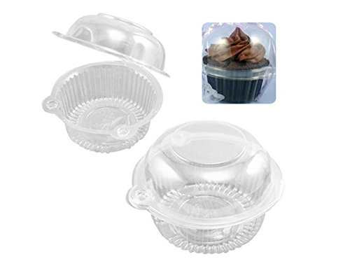 Hewnda 100 pieces Plastic Single Individual Cupcake Muffin Dome Holders Cases Boxes Cups Pods -