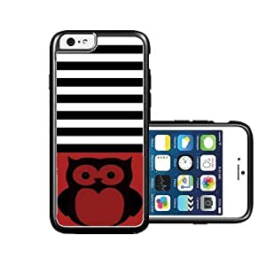 RCGrafix Brand Owl-Black Black Stripes & Red black iPhone 6 Case - Fits NEW Apple iPhone 6