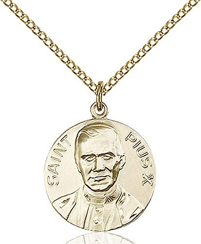14kt Gold Filled Pope Pius X Pendant, Gold Filled Lite Curb Chain Patron Saint 3/4 x 5/8