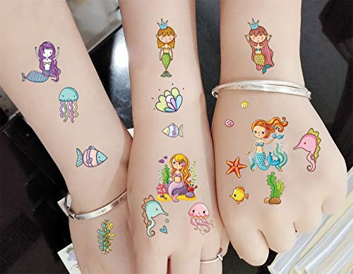 M.owstoni Mermaid Party Supplies Temporary Tattoos Favors for Kids 60 Glitter Styles Birthday -