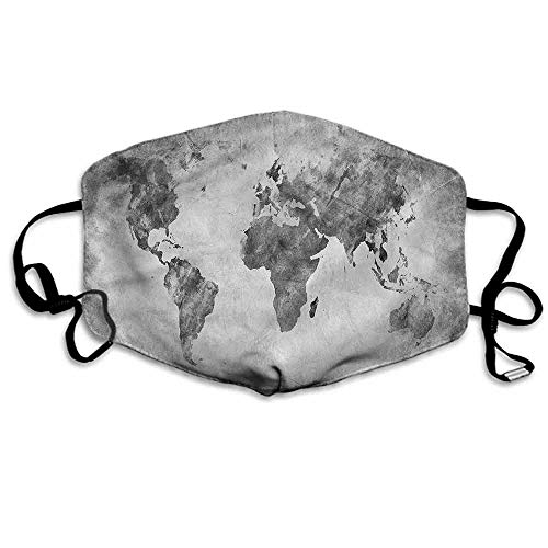 Modern Dust Mouth Mask Vintage Dark Tone World Map for Men and Women W4