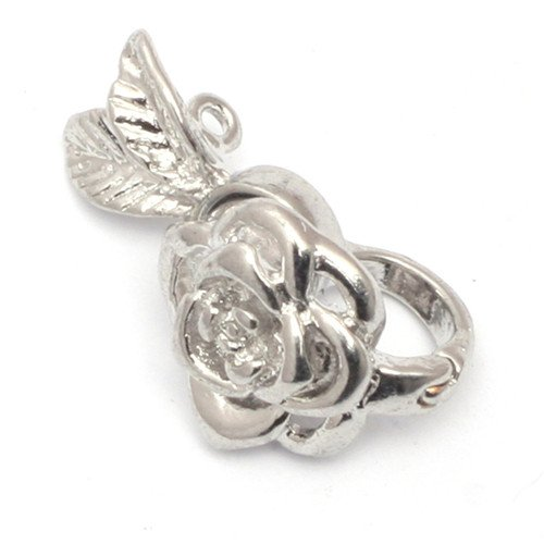 GEM-inside Clasp Silver Plated Filigree Flower Jewelry DIY Charms Pendants Loose Beads Findings Accessories 1Piece 14X23MM