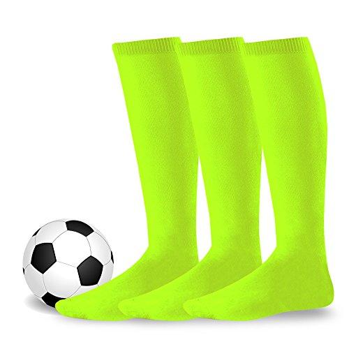 (Soxnet Acrylic Unisex Soccer Sports Team Cushion Socks 3 Pack (Junior (7-9), Neon)