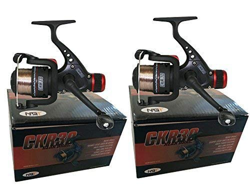 2 x CKR30 Black Fishing Reels Loaded with 6LB Line For Coarse Match Lake...