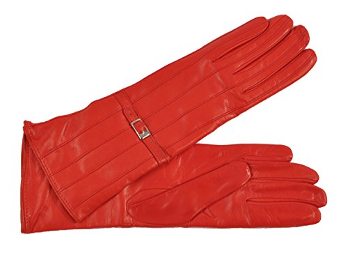 (Women's Silk Lined Three-Quarter Length Italian Lambskin Gloves -)