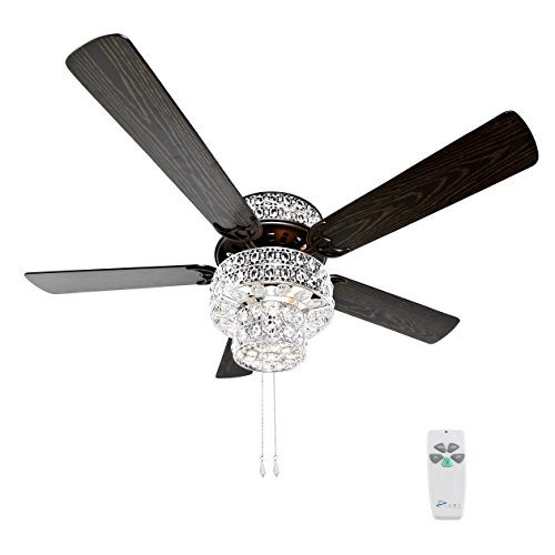 River of Goods  16554S Silver Punched Metal and Clear Crystal Ceiling Fan 7 Watt Tier Light