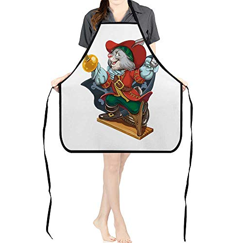 Jiahong Pan Premium Design Kitchen Bib Cartoon Hare Pirate with a Saber in one Hand and a Hook in Another Calls for Card Oilproof Anti-Stain Washable Dry Fast Home -