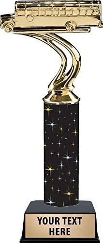 Black Midnight School Bus Trophy Awards 11 Inch School Bus Trophies