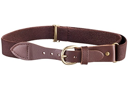 Kids Elastic Adjustable Belt with Leather Buckle (Brown)