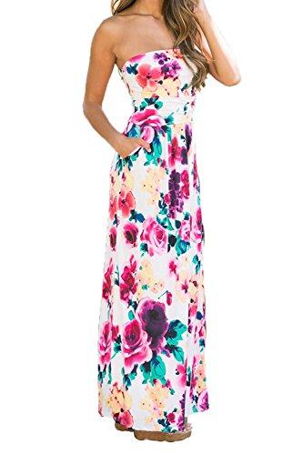 FOUNDO Womens Floral Print Strapless Tube Bohemian Party Beach Long Maxi Dress