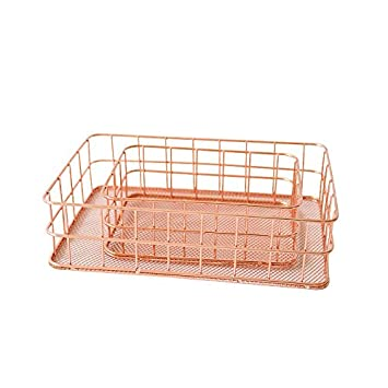 2 Set Home Wire Storage Basket,Rose Gold Basket, Makeup Basket,Office,Organizer For Kitchen Cabinets, Pantry Or Bathroom Shelves-2 Size Surethingz