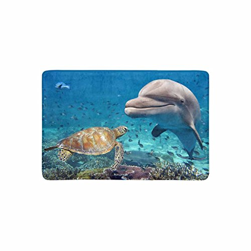 (SPXUBZ Dolphin And Turtle Underwater On Reef Underwater Welcome Non Slip Entrance Rug Indoor Dirt Buster Durable Machine Washable DoorMat Size 18x30 Inch)