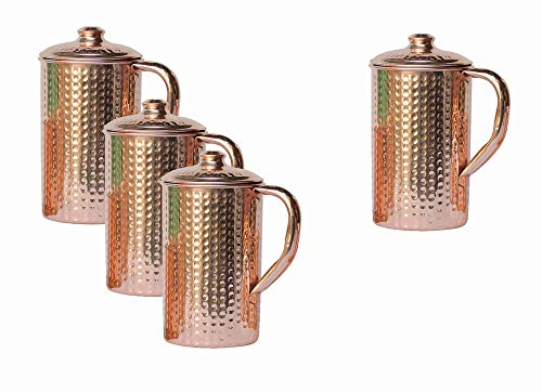 4 PCS Hand Beaten Pure Copper JUG with LID for Storing Drinking Water ES 36