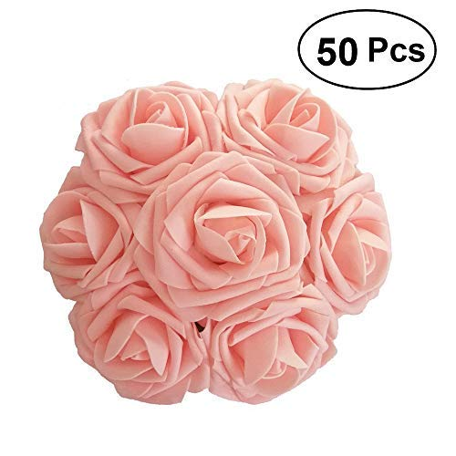 Lmeison Artificial Flower Rose 50pcs Real Looking Artificial Roses w/Stem for Bridal Wedding Bouquets Centerpieces Baby Shower DIY Party Home Décor,Pink