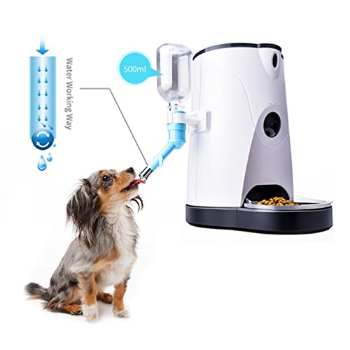 Petacc Pets Automatic Pet Feeder Food Dispenser for Dogs & Cats - Features Distribution Alarms,...