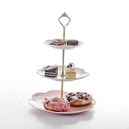 Etagere, Malacasa, Serie Sweet.Time, 6/8/10,5 Zoll Dessert Display, Cupcake Ständer, Porzellan 3-stöckig Törtchen Gebäck Muffin Obst Halter für Party, Geburtstag, Hochzeit, Weihnachten (Weiß)