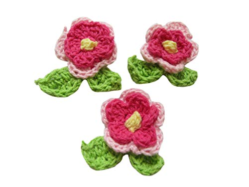 YYCRAFT 30pcs Crochet Flower with Leafs Applique for Baby Girls Headband Bows Craft and Clothes Hats Sewing Embellishment(1.75
