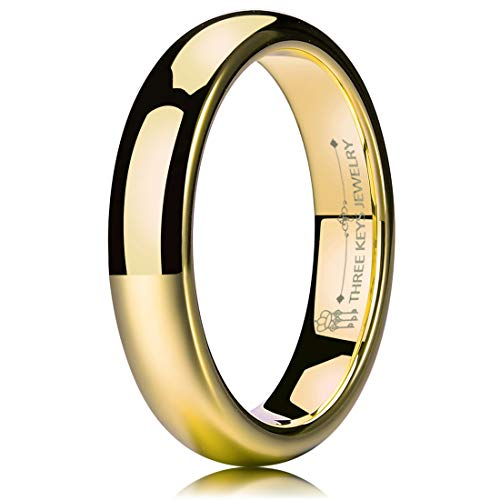 - THREE KEYS JEWELRY 4mm Tungsten Carbide Wedding Ring for Women Wedding Band Engagement Ring Comfort Fit Dome Classy 24K Gold Plated Size 6.5