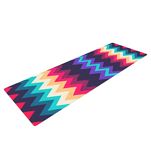 Kess InHouse Nika Martinez Yoga Exercise Mat, Surf Chevron, 72 x 24-Inch