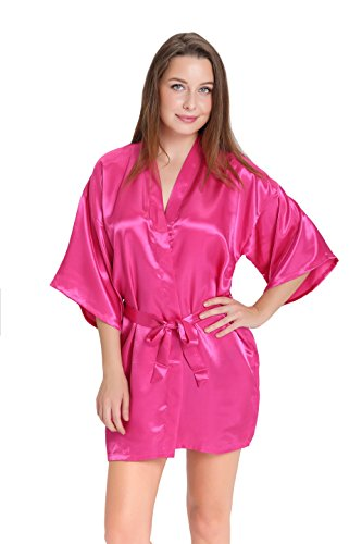 Aibrou Women/'s Kimono Robes Satin Pure Colour Short style with Oblique V-Neck, Rose Red, Small