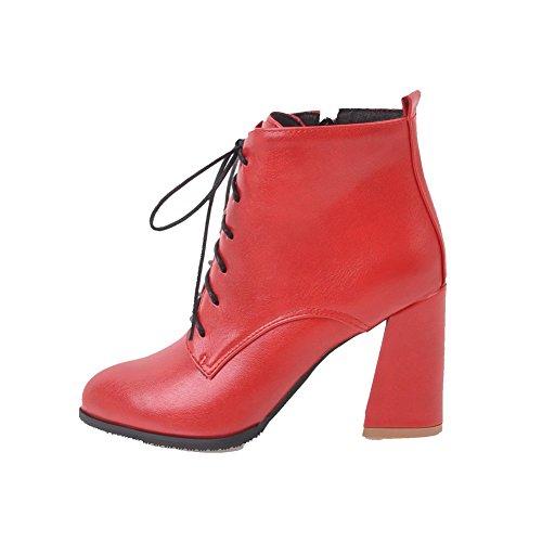 AllhqFashion Damen Hoher Absatz Rein Spitz Zehe Schnüren Stiefel, Rot, 42
