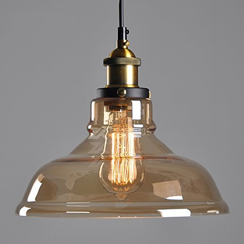 WINSOON 11 X 10 Inch Vintage Industrial Ceiling Lamp Clear Glass Pendant Lighting for Kitchen Island Loft Shade Fixture Amber - Pendant Amber Glass