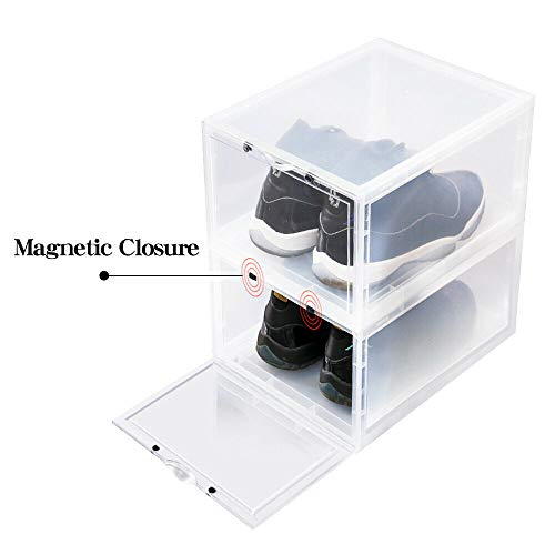 LifestyleEssential - Drop Front Shoe Box - Shoe Storage Container - Acrylic Sneaker Box - Shoe Bin - Foldable - Stackable - Clear - for Men Women - 2 Boxes Each Package (Discount Kitchen Cabinet Doors And Drawer Fronts)