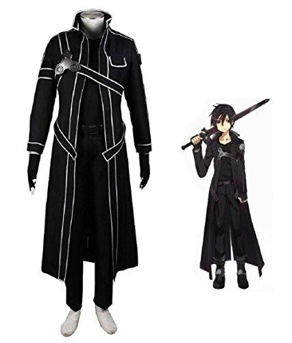 Sword Art Online Kazuto Kirigaya Kirito Anime Cosplay Costume-Child-Large