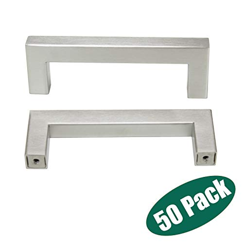 Stainless Steel Cabinet Handles in Bulk,Satin Nickel Kitchen Cabinet Hardware 50 Pack -Probrico Door Handles for Dresser/Drawer/Closet/Bathroom Vanity/Nightstand,CC:3-3/4