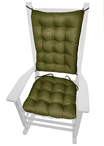 Porch Rocker Cushions - Rave Sage Green - Size Extra-Large - Indoor / Outdoor: Fade Resistant, Mildew Resistant - Latex Foam Fill, Reversible, Machine Washable