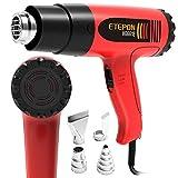 ETEPON Heat Gun Kit Temperature Adjustable Hot Air Gun 1800w 120°F-1020°F with 4 Heat Gun Nozzles for DIY Craft, Bending Pipes,Vinyl Shrink Wrap, Paint Remove (HG6618)