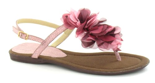 Flower Ruffle Trim Flat Toepost Rose Sandal On Spot BfqtwpUTW