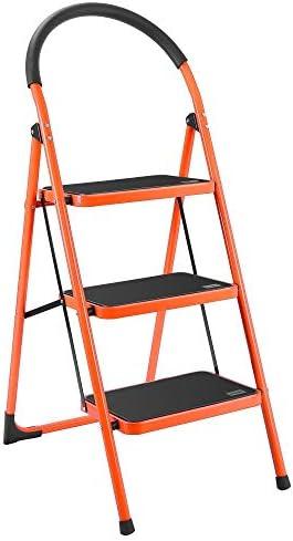 KAK escalera plegable de 3 peldaños portátil, ahorra espacio, escaleras livianas con resistente acero y pedal ancho antideslizante, multiuso para el hogar, mercado, oficina (330 libras): Amazon.es: Bricolaje y herramientas