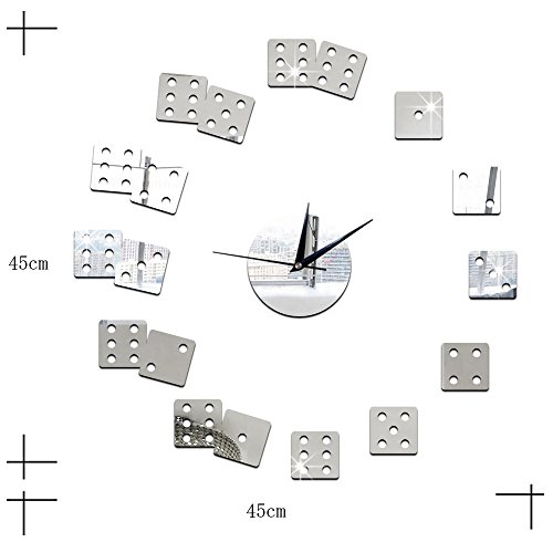 ZQ Modern European and American Creative living room wall clock DIY mirror decorative wall clock beautiful wall stickers and dice green Stereo Mute room decoration ideas wall clock , silver