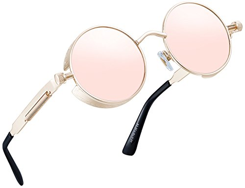 Joopin-Round Retro Polaroid Sunglasses Driving Polarized Glasses Men Steampunk (Pink Retro)]()