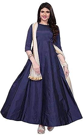 08a043c1404ac Moral Enterprise Women's Cut Work Silk Gown with Chiffon Dupatta ...