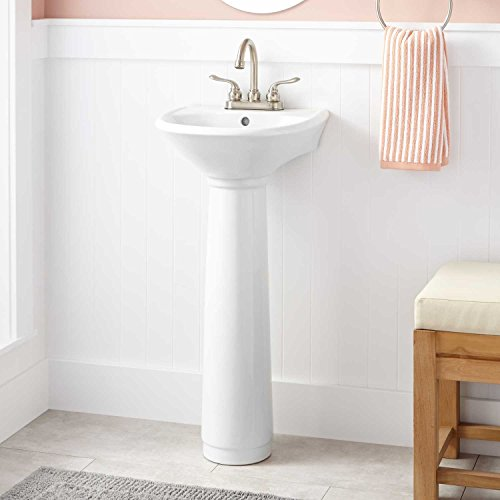 (Naiture Porcelain Mini Pedestal Sink In White Finish With 4
