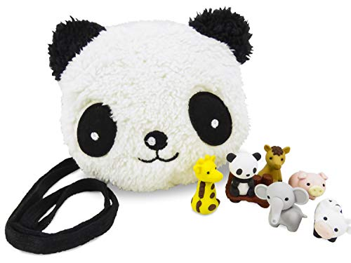 Mixed Panda Plush Purse with Zoo Kawaii Japanese Mini Puzzle Erasers (8 Piece Set)