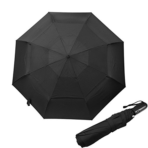 Runbox Auto Open/Close Umbrella -- Extra Large Vented Double Canopy Windproof Classic Black Compact Travel Umbrella for men and women (Dome Stem Canopy)