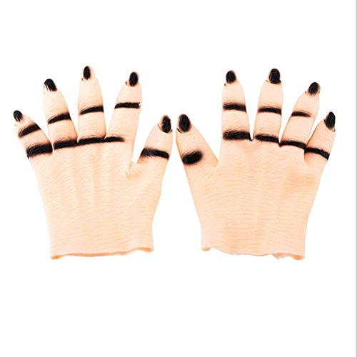 Tinksky Halloween Ghost Gloves Scary Cosplay Halloween Props Costumes Masquerade Party Supplies Halloween Costumes (Skin Color)