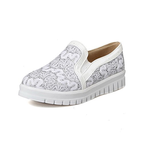 Materials On Women's Heels White Shoes Toe Low Blend Closed Pumps Solid Round Pull WeiPoot vEURU