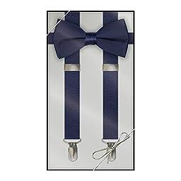 Suspender & Bow Tie Set (Kids, Navy Blue)