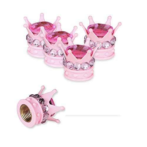 Mini-Factory Chrome Tire Valve Stem Caps Bling Diamond Crown Tire Wheel Stem Valve Caps for Car and Motorcycle (All Pink) (Valve Pink Caps Stem)