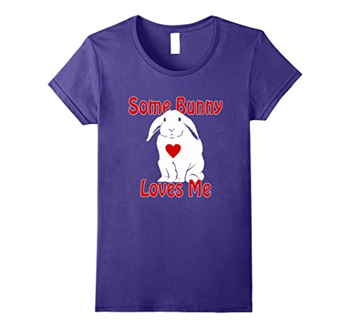 Lop Eared Bunny (Womens Some Bunny Loves Me Lop Eared Rabbit T-Shirt XL Purple)