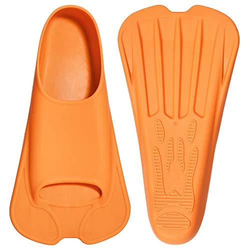 CAPAS Swim Training Fins Comfortable Silicone Swimming Flippers Short Blade Build Leg Strength (Orange, XL 11.5-12.5)