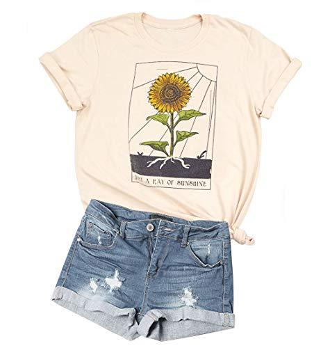 Womens Sunflower Just Ray of The Sunshine T-Shirt Women Summer Tee Teen Girls Casual Tops M (Yellow)